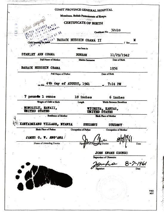 Barack Obamau0027s Alleged Kenyan Birth Certificate  Birth Certificate Template For School Project