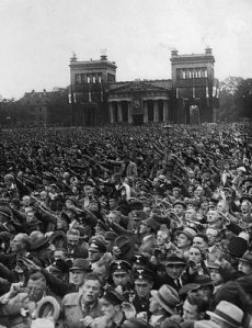 Crowd cheering Adolf Hitler