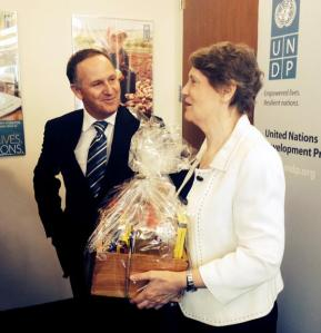"Key delivers basket of ""Kiwi goodies"" to Helen Clark at UN"