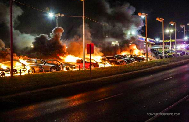 Ferguson cars burn