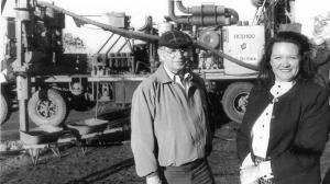 Gina Rinehart at a Pilbara drilling site 20 years ago