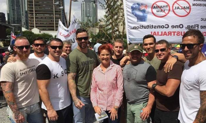 Some of the guards posing with Pauline Hanson at the Reclaim Australia Rally Brisbane April 4th