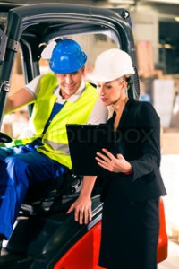 Woman with forklift