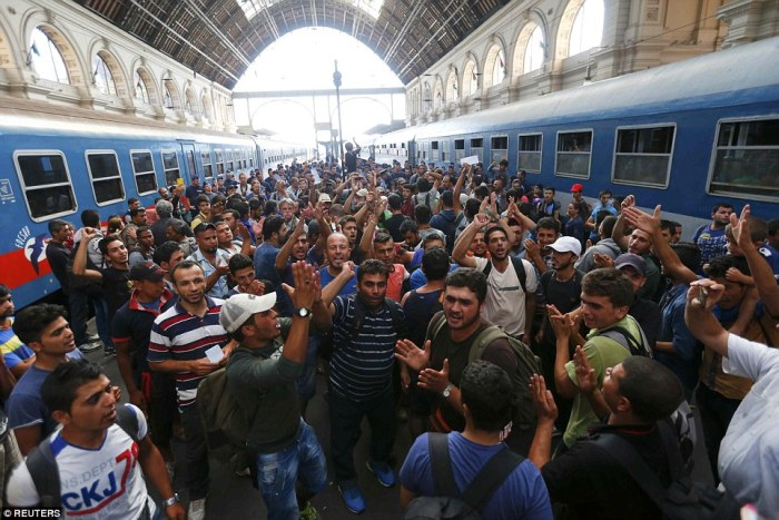 Immigrants at Munich Train station
