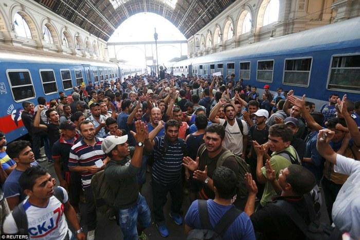 Immigrants at Munich Train station