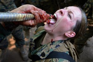 Female Marine drinks Cobra blood as survival exercise