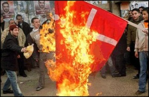 Muslims burn Denmark flag