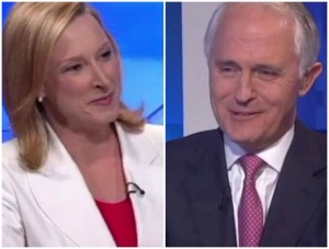 ABC 7:30 interviewer Leigh Sales & newly elected Australian PM Malcolm Turnbull
