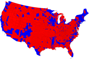 Final election results by county. Maybe US pollsters should have rung a few more country people