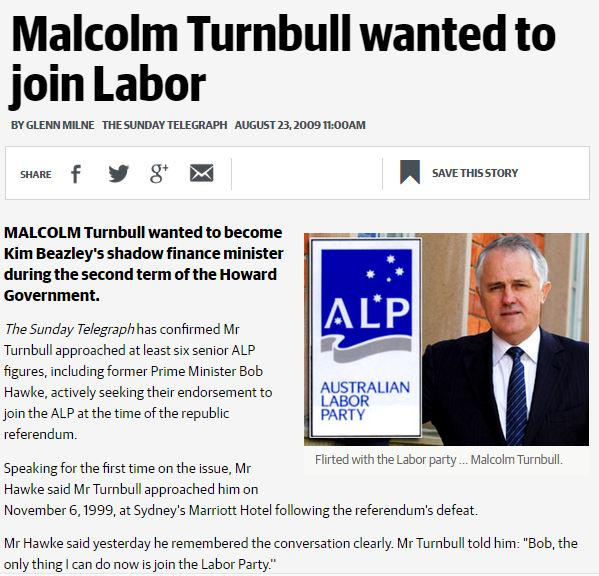 Turnbull wanted to join Labor